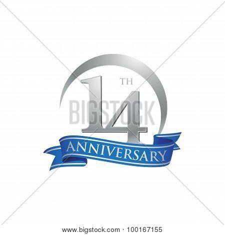 14th anniversary ring logo blue ribbon