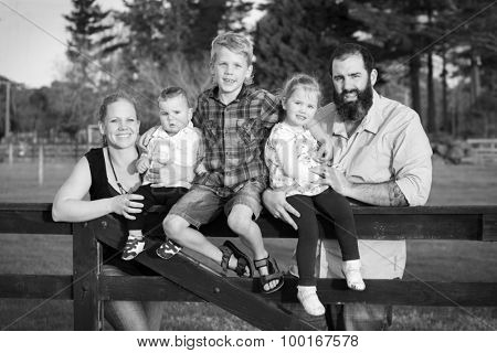 Black and white family of five portrait