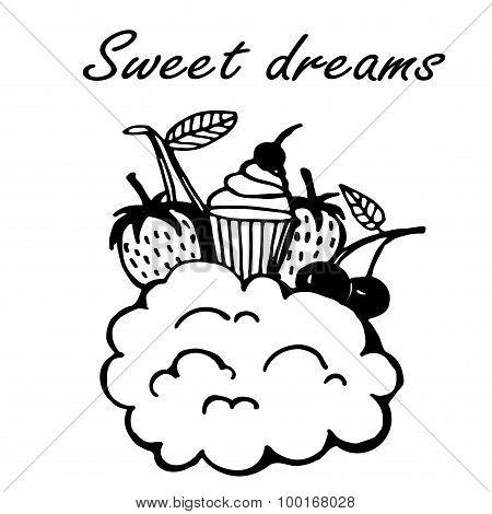 sweet dreams doodle sketch vector illustration