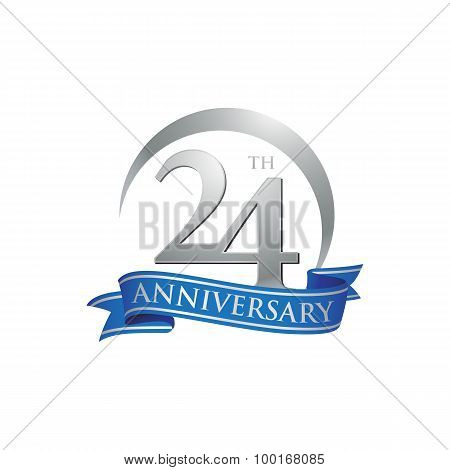 24th anniversary ring logo blue ribbon