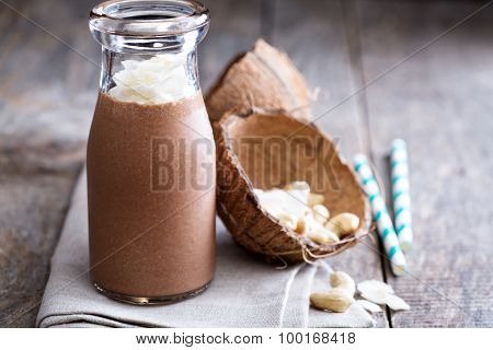 Healthy vegan chocolate coconut shake