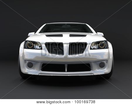 Sports Car Front View. The Image Of A Sports White Car On A Black Background.