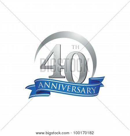 40th anniversary ring logo blue ribbon