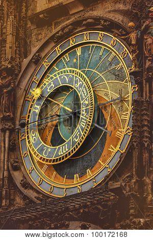 Retro Toned Old Prague Astronomical Clock