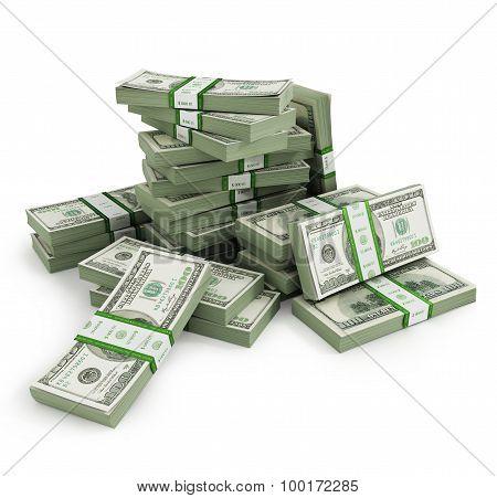 Many bill stacks