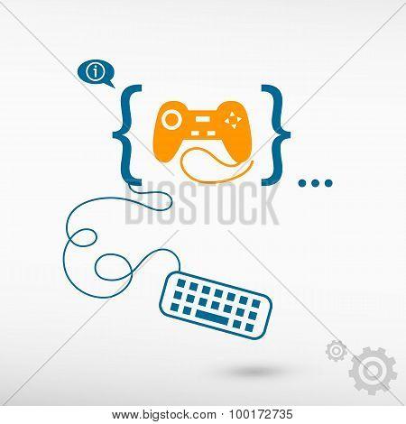 Joystick Icon And Flat Design Elements