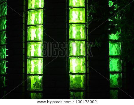 Decorative Wall With Green Lights At Night