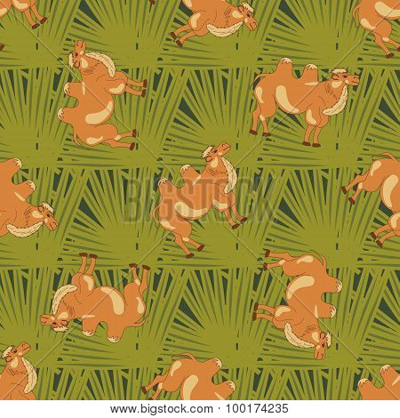 Bactrian camels on green leaves. Seamless pattern with cartoon camels