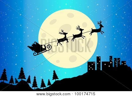 Santa's Sleigh Vector Illustration