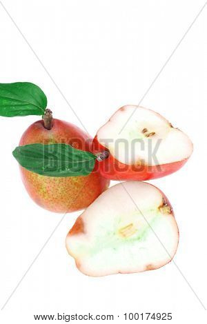 group of red pears with half isolated over white background