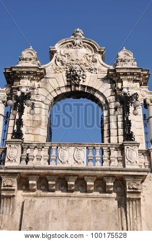 Stone gateway to the Buda Castle in Budapest