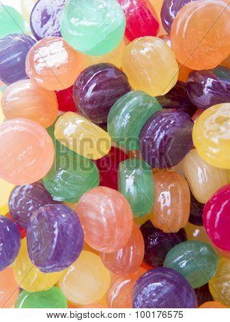 Multi - Colored Candy-lollipops Closeup