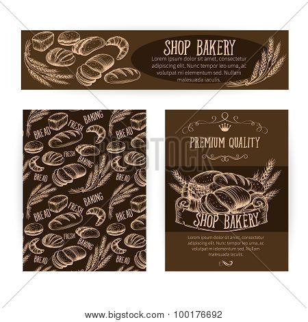 Corporate identity set design with baking and bread.