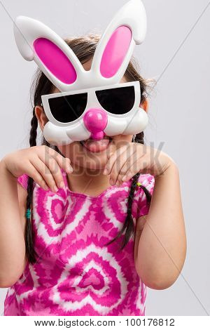 Child With Bunny Mask Background / Child With Bunny Mask / Child With Bunny Mask On Isolated White B