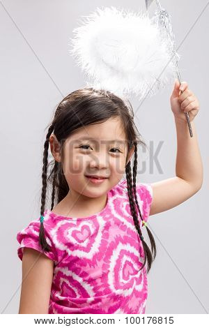Child With Magic Wand Background / Child With Magic Wand / Child With Magic Wand On Isolated White B