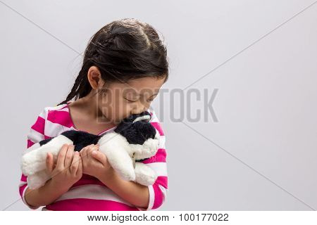 Little Girl With Doll Background / Little Girl With Doll / Little Girl With Doll On Isolated White B