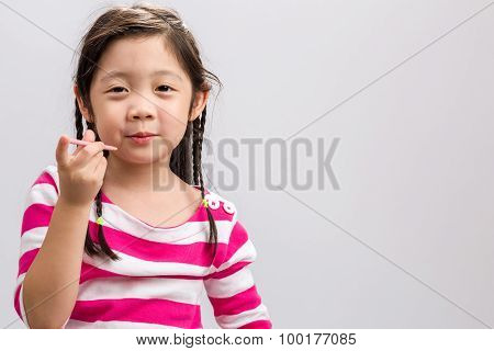 Child Eating Snack Background / Child Eating Snack / Child Eating Snack On Isolated White Background