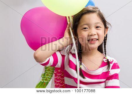 Kid Holding Balloon Background / Kid Holding Balloon / Kid Holding Balloon On Isolated White Backgro