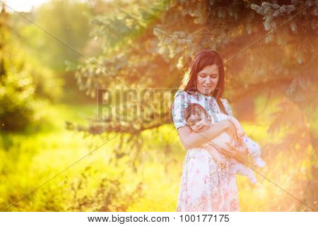 Mother With Baby Son, Close-up, Summer