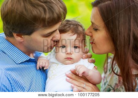 Parents With Baby Son, Close-up, Summer