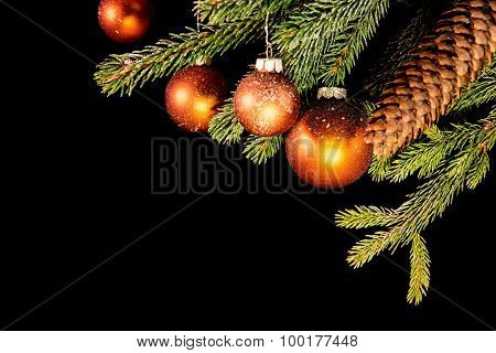 Fir Branch And Cone With Balls