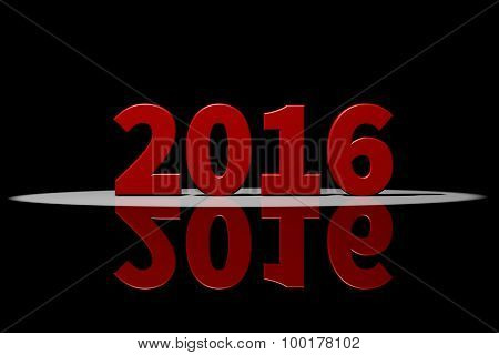 2016, Red Text, 3D Rendering With Reflection