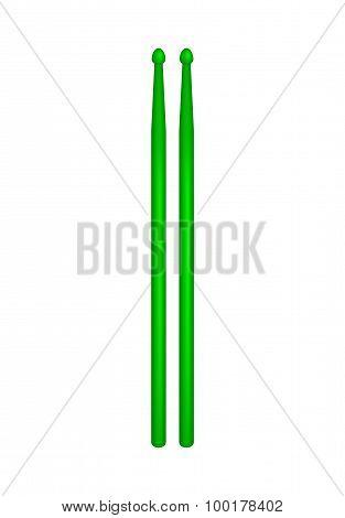 Pair of wooden drumsticks in green design