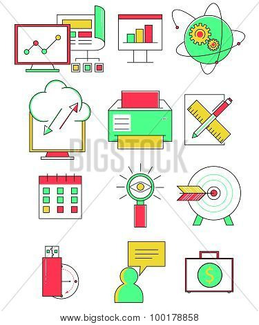 Business line icons set in flat design. Web elements linear style. Vector illustration