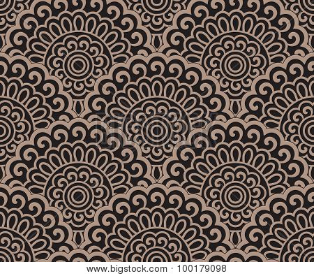 Seamless Oriental Pattern On A Black Background