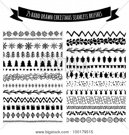 Set Of Doodle Hand Drawn Seamless Brushes, Borders, Dividers Isolated On White Background. Christmas