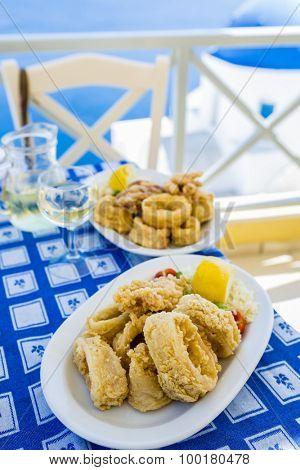 Greek cuisine - fried calamari rings