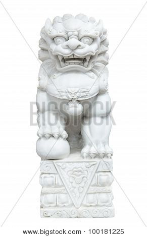 White Marble Chinese Imperial Lion, Guardian Lion, Chinese Style On White Background Isolate