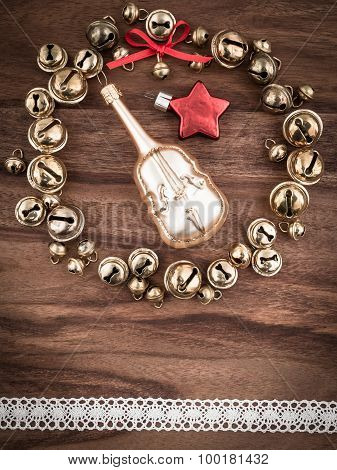 Christmas, Bells On Wood, Christmas Decoration, Cello And Star