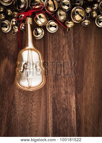Christmas, Bells On Wood, Christmas Decorations, Cello, Copy Space
