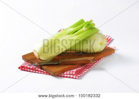 bulbs of fresh fennel on wooden cutting board