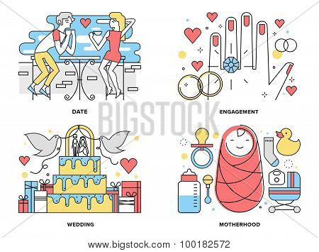 Start A Family Flat Line Illustration