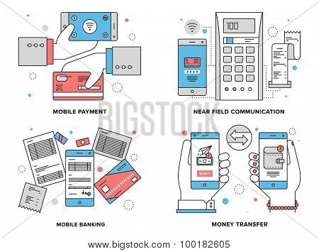 Mobile Payments Flat Line Illustration