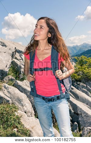 Woman Looking To Landscape During Hiking