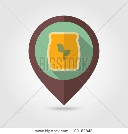 Fertilizer Flat Mapping Pin Icon With Long Shadow