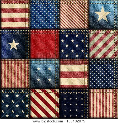 Patchwork of American flag.