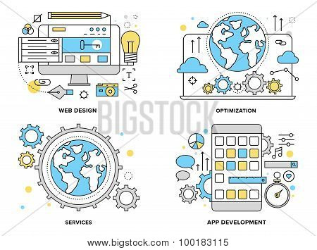 Web Services Flat Line Illustration