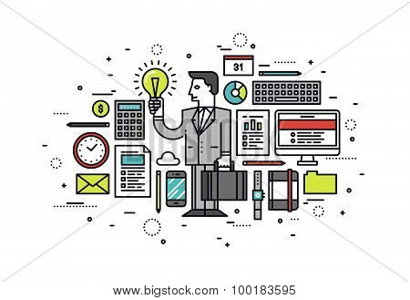 Business Ideas Line Style Illustration
