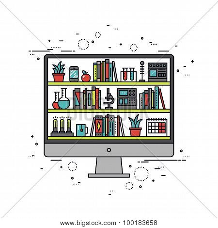Computer Education Line Style Illustration