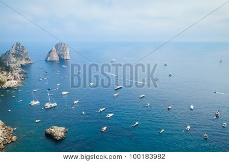 Bird Eye View On Faraglioni Rocks Of Capri Island