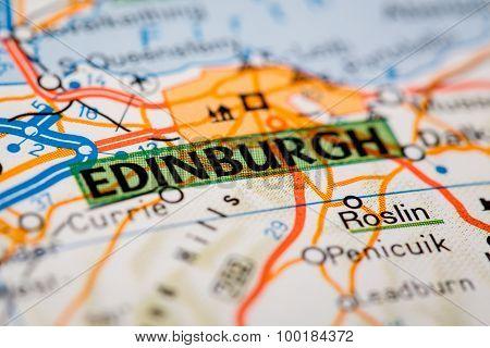 Edinburgh City On A Road Map