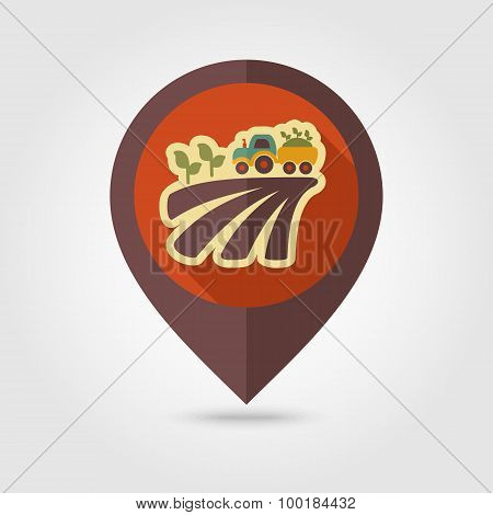 Tractor On Field Harvest Flat Mapping Pin Icon