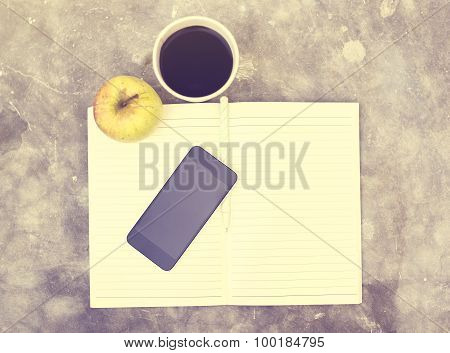 Coffee, Cell Phone, Apple And Blank Diary With A Pencil, Vintage Photo Effect