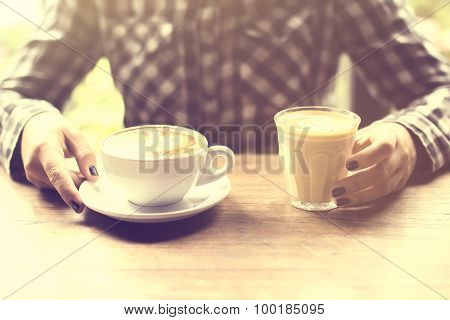 Hipster Girl With Cup Of Coffee And Cappuccino