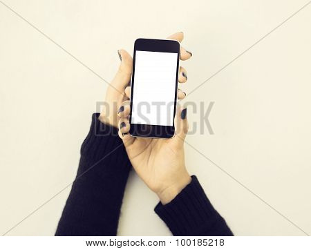 Blank Cell Phone And Girl Hands, Mock Up