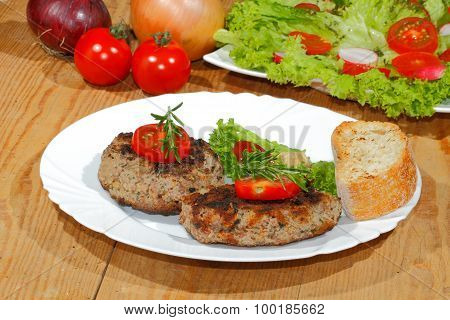 Grilled Beef Patties, Spicy Sauces, Plates